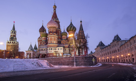 Saint Basil Cathedral on Red Square in Moscow, Russia 版權商用圖片