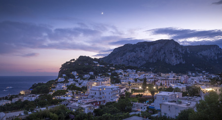 Panorama of Capri island at night, Italy Фото со стока - 64242084