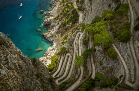 via: Via Krupp on Capri Island in Italy Stock Photo