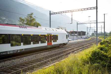 another way: Modern Swiss train on its way to another city
