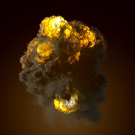 dense: Explosion mushroom shape cloud with fire and smoke illustration