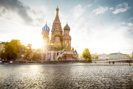 Basilius-Kathedrale auf dem Roten Platz in Moskau, Russland Editorial
