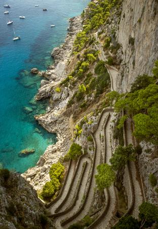 via: Via Krupp on Capri island, Italy Stock Photo