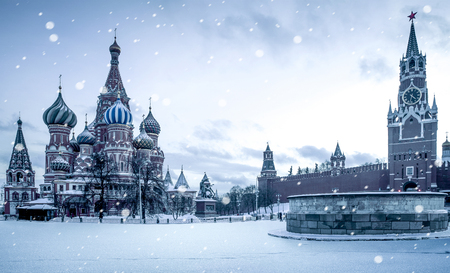 Christmas time in Moscow - snow falling on Red Square