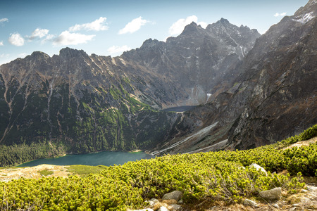 Sea Eye Pond and Black Pond Under Rysy in Polish Tatra mountains as seen from the top