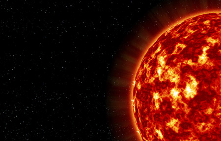 gamma radiation: The closeup of Sun star with explosions on its surface
