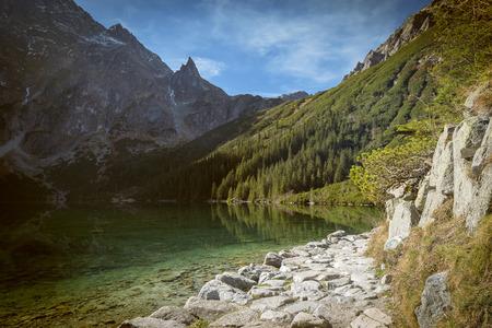 mnich: Morskie Oko pond in polish part of Tatra mountains