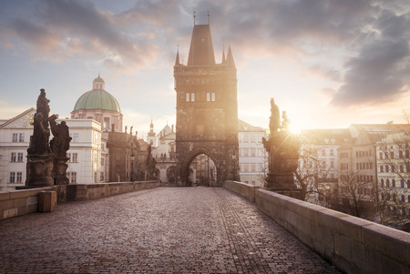 charles bridge: Sunrise on Charles Bridge in Prague, Czech Republic