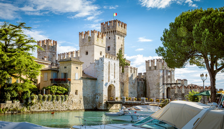 Rocca Scaligera castle in Sirmione town near Garda Lake in Italy