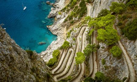 via: Panorama of Via Krupp on Capri island in Italy