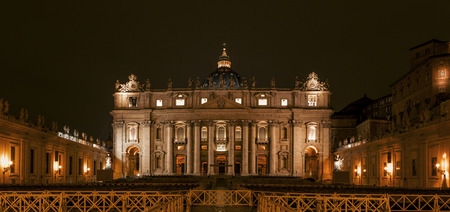 Panorama of Saint Peters Basilica in Vatican city at night, Rome, Italy Stock Photo