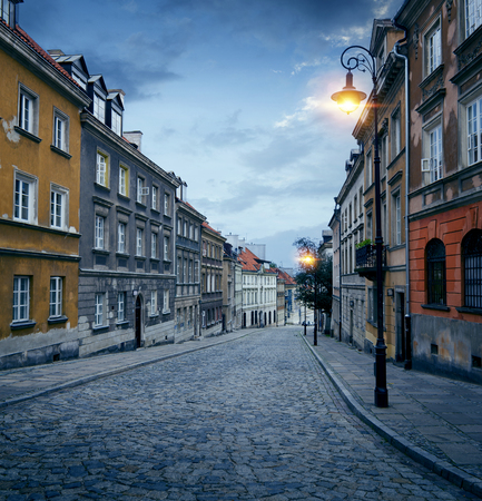 Street in old town of Warsaw, Poland Stock Photo