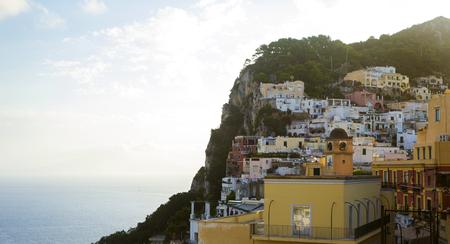 capri: Panorama of Capri town on Capri Island in Italy