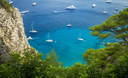 Aerial view of yachts near Capri island in Italy