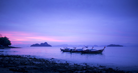 Panorama of sunset on a beach in Thailand