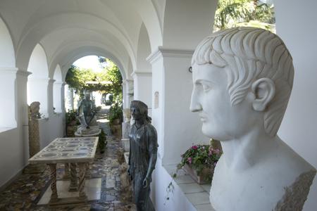 san michele: CAPRI, ITALY - AUGUST 09, 2016: Loggia with statues in villa San Michele in Anacapri on island Capri