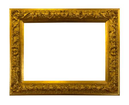 Beautiful golden antique frame isolated on white background Stock Photo