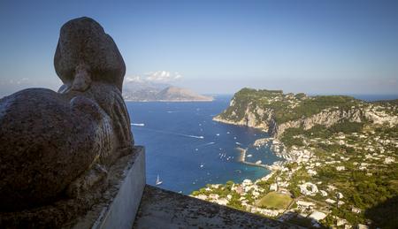 Panoramic view of Capri island from Villa San Michele in Anacapri, Italy