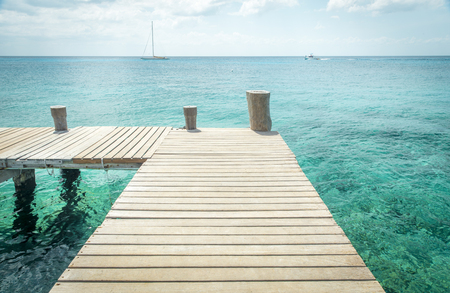 Wooden pier on Cozumel Island in Mexico