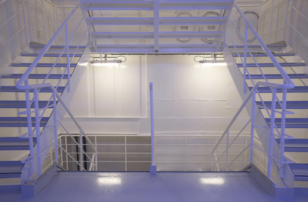 Stairs In Crew Area Of A Cruise Ship Stock Photo   74866446