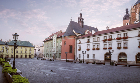 Panorama of small market square in Krakow, Poland Stock Photo