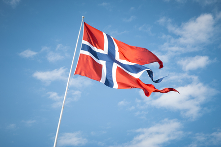 Norwegian flag waving in the wind