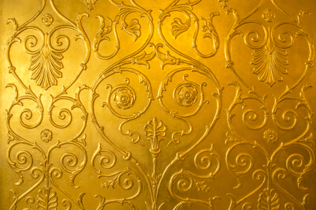 Golden background with ornamental shape Stock Photo