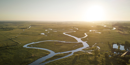 Aerial panorama of river meander in Biebrza National Park, Poland