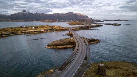 Aerial panorama of Atlantic Road in Norway