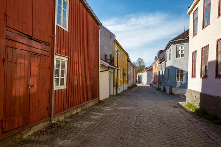 Colorful houses in old town of Trondheim, Norway