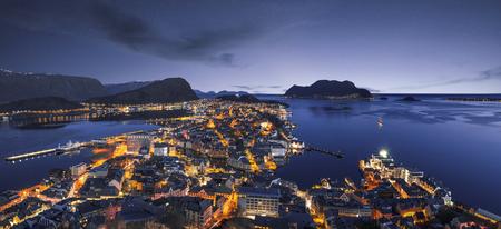 Alesund skyline panorama by night Stock Photo