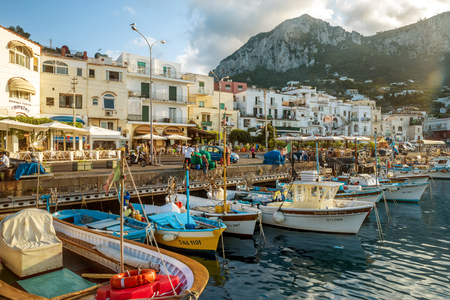 Old town on Capri island at Marina Grande. Capri Island is a popular vacations destination in Campania, Italy. 新聞圖片