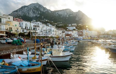 Old town on Capri island at Marina Grande. Capri Island is a popular vacations destination in Campania, Italy. Stock Photo - 87458791