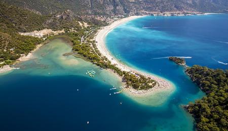 landscape: Aerial panorama of island in Oludeniz, Turkey Stock Photo