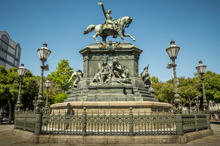 General San Martin Monument in Lagoa, Rio de Janeiro, Brazil Stock Photo