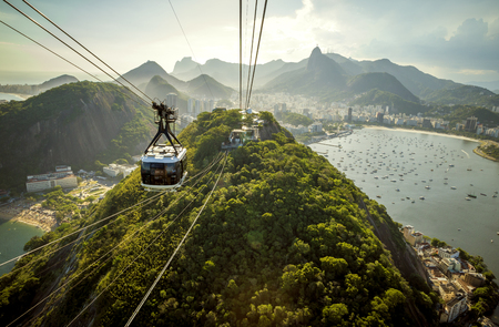 Cable car going to Sugarloaf mountain in Rio de Janeiro, Brazil