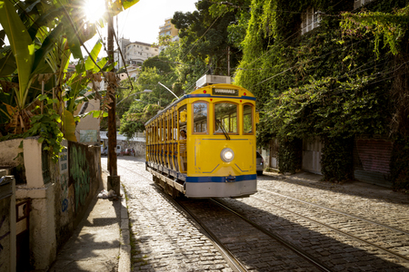 Old yellow tram in Santa Teresa district in Rio de Janeiro, Brazil Фото со стока - 93669665
