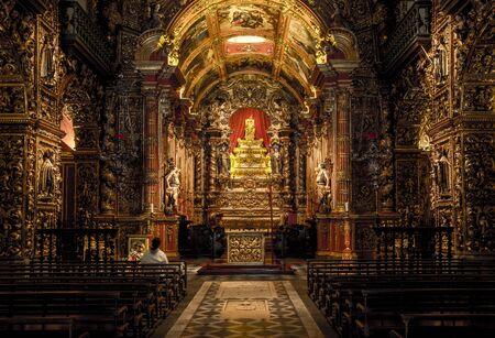 Rio de Janeiro, Brazil - December 22, 2017: Chapel in Sao Bento Monastery (Abbey of Our Lady of Montserrat) in Rio de Janeiro, Brazil Редакционное