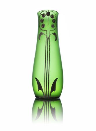 Antique Green Glass Vase Isolated On White Backround Stock Photo