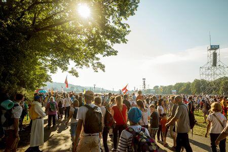Krakow, Poland - July 29, 2016: world youth day in Krakow, Poland