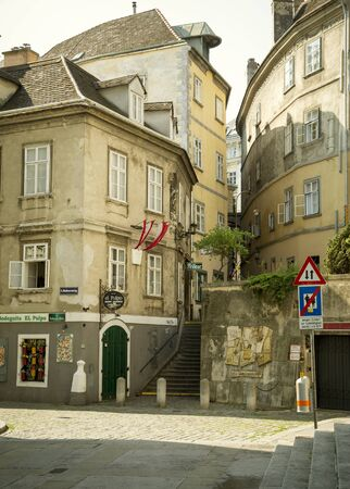 Vienna, Austria - August 02, 2014: Historic residential buildings in old town of Vienna city, Austria Редакционное