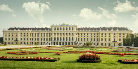 Vienna, Austria - August 03, 2014: Panorama of Schonbrunn palace and its garden in Vienna, Austria
