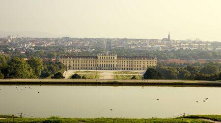 Vienna, Austria - August 03, 2014: View on garden of Schonbrunn palace from Gloriette in Vienna, Austria