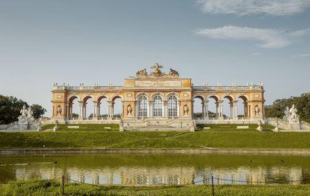 Vienna, Austria - August 03, 2014: Panorama of Gloriette in Schonbrunn palace garden in Vienna, Austria