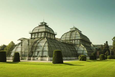 Vienna, Austria - August 03, 2014: Palm house in park of Schonbrunn palace in Vienna, Austria
