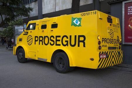 Rio de Janeiro, Brazil - December 15, 2017: Armored car in the center of Rio de janeiro, Brazil