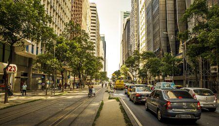 Rio de Janeiro, Brazil - December 15, 2017: Traffic jam on the main street full of skyscrapers in the center of Rio de janeiro, Brazil