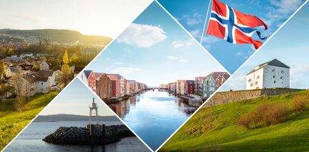 Collage of Trondheim city in Norway