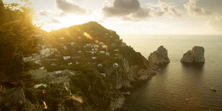 Panorama of Capri island, Italy Фото со стока