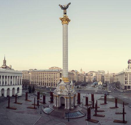 Kiev, Ukraine - January 3, 2020: Monument of Independence on Independence Square in Kiev city, Ukraine